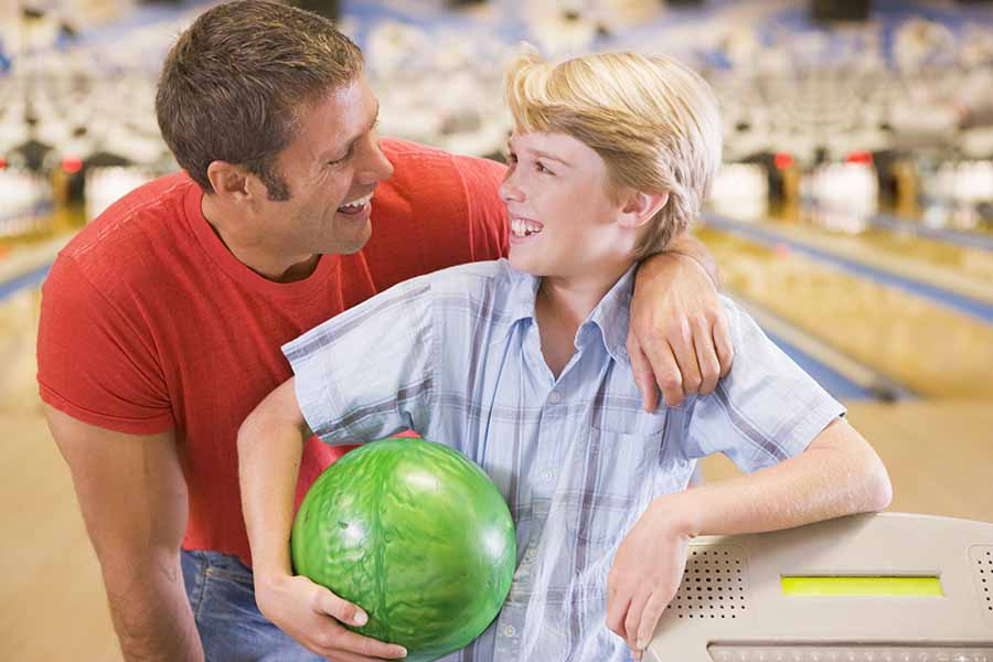 dad and son bowling