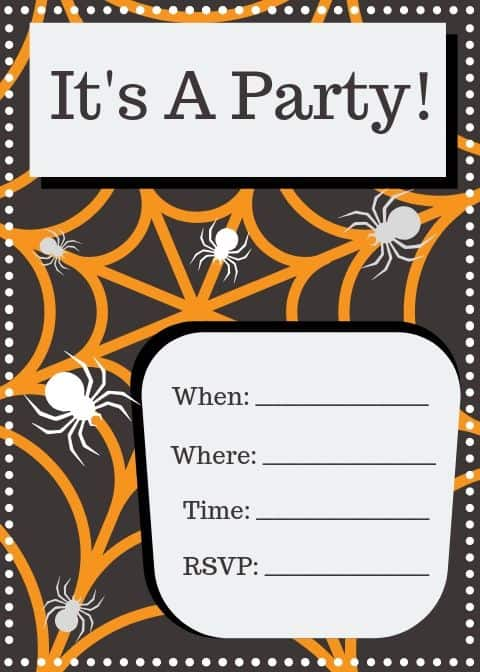 spider party invitation printable