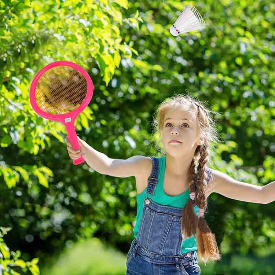 playing badminton outside