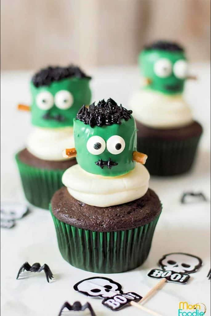 frankenstein cupcakes Halloween Baking Recipe