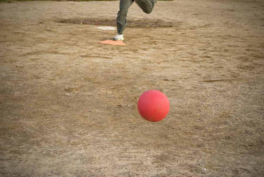 playing kickball outside