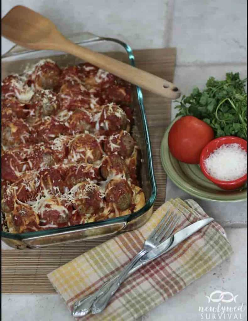 Easy Dinner Meatball Sub Casserole With Ground Hamburger meat