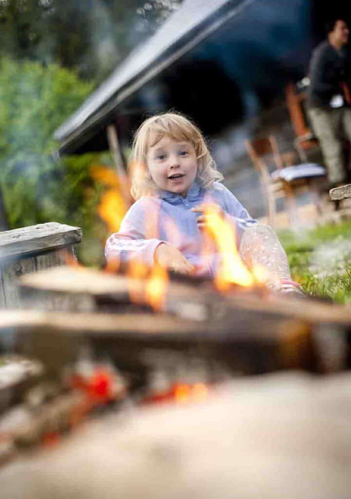 enjoy camp fire on camping trip