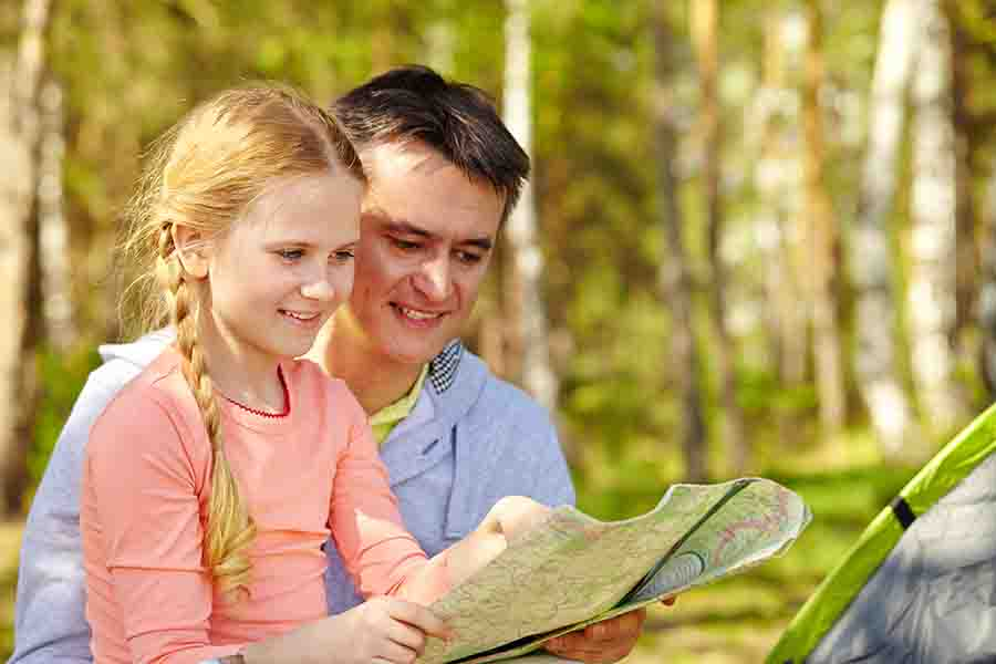 teach kids too read map for entertainment on camping trip