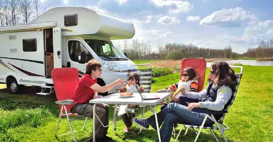 family camper set up
